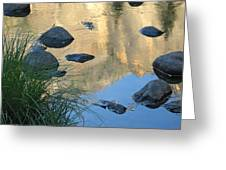 Reflecting Peaks In The Merced River Greeting Card