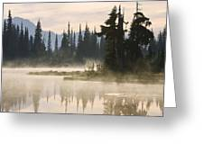 Reflection Lake With Mist, Mount Greeting Card