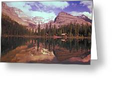 Reflection Of Cabins And Mountains In Greeting Card