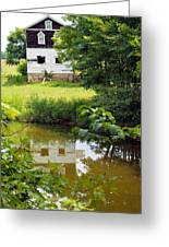 Reflection Of The Barn Greeting Card