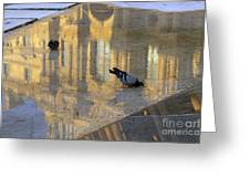 Reflection Of The Louvre In Paris Greeting Card