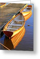 Reflections Of A Dory  Amesbury Ma Greeting Card