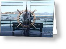 Reflections Of Alcatraz Island At The Maritime Museum In San Francisco California . 7d14080 Greeting Card by Wingsdomain Art and Photography