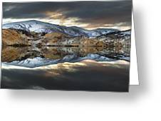 Reflections Of Cliffs On Blue Lake St Bathans Greeting Card