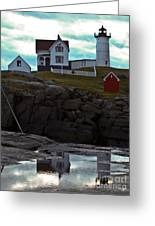Reflections Of Nubble Lighthouse Greeting Card by Scott Moore