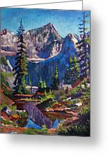 Reflections On A Pond Greeting Card by David Lloyd Glover