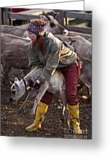 Reindeer Farm Work Greeting Card