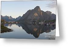 Reine Village In Early Morning Light Greeting Card