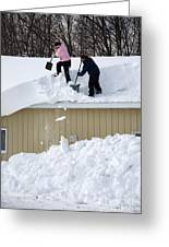 Removing Snow From A Building Greeting Card