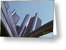 Renaissance Center In Detroit Greeting Card by Will & Deni McIntyre