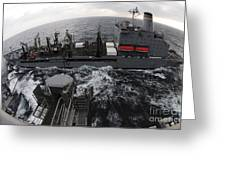 Replenishment At Sea Between Usns Greeting Card