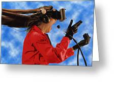 Researcher Wearing Virtual Reality Headset Greeting Card