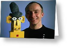 Researcher With His Happy Emotional Lego Robot Greeting Card