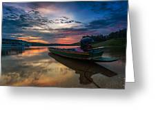 Rest Time Wood Boat Greeting Card by Arthit Somsakul