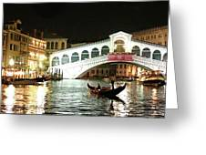 Rialto Bridge Night Scene Greeting Card