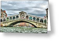Rialto Bridge Over The Grand Canal Of Venice Greeting Card