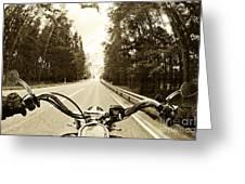 Riders Eye Veiw In Sepia Greeting Card