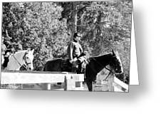 Riding Soldiers B And W II Greeting Card