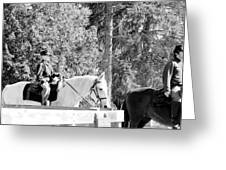 Riding Soldiers B And W IIi Greeting Card