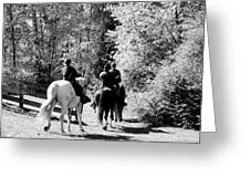 Riding Soldiers B And W Greeting Card