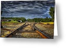 Riding The Tracks Greeting Card