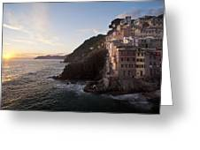Riomaggio Sunset Greeting Card