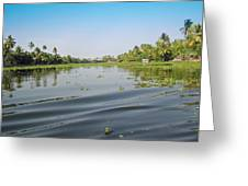 Ripples On The Water Of The Saltwater Lagoon In Alleppey In Kerala In India Greeting Card