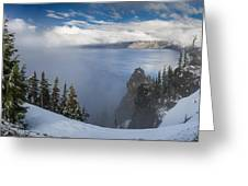 Rising Mists From Crater Lake Panorama Greeting Card