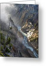 Rising Mists From Grand Canyon Of The Yellowstone Greeting Card