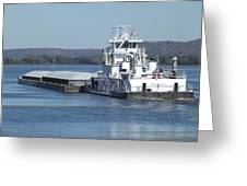 River Barge Greeting Card