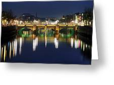 River Liffey At Night, Oconnell Street Greeting Card