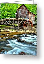 River Rock And A Grist Mill Greeting Card