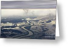 River Running Through A Flooded Countryside Greeting Card