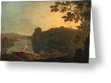 River Scene- Bathers And Cattle Greeting Card