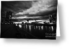 riverside walkway by the Clyde Arc bridge over the river clyde at dusk in Glasgow Scotland UK Greeting Card