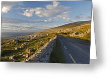 Road Along The Burren Coastline Region Greeting Card