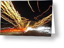 Road Cars And Street Lights Greeting Card