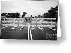Road Closed And Highway Barrier Due To Flooding Iowa Usa United States Of America Greeting Card by Joe Fox