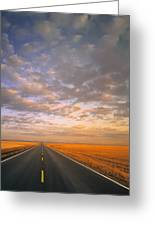 Road Into Sunset Greeting Card