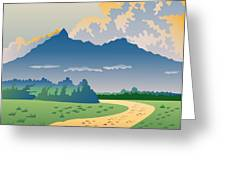 Road Leading To Mountains Greeting Card