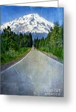 Road Leading To Snow Covered Mount Shasta Greeting Card