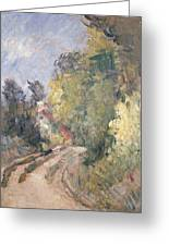 Road Turning Under Trees Greeting Card