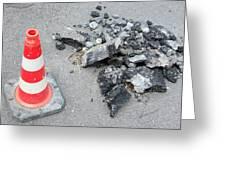 Roadworks - Asphalt And Pylon Greeting Card