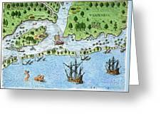 Roanoke Landing, 1585 Greeting Card