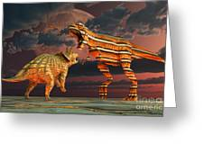 Robotic T. Rex & Triceratops Battle Greeting Card