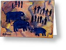 Rock Art No 3 Elephant Sighting Greeting Card