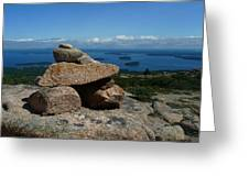 Rock Cairn On Cadillac Mountain Greeting Card