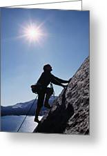 Rock Climber On Polly Dome Above Lake Greeting Card