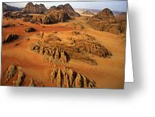 Rock Formations And Sand Near Petra Greeting Card by Annie Griffiths