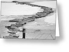 Rock Lake Crossing In Black And White  Greeting Card